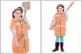 Little girl in construction clothes white background — Stok fotoğraf