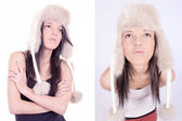 Fashion woman wearing a hat, set — Stock Photo