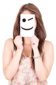 Pretty Young Woman with wink happy Emoticon — Stock Photo