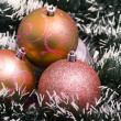 Christmas balls with decorations — Stock Photo