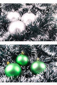Christmas ornaments decoration silver and green — Stock Photo
