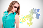Woman with sunglasses, color background design — Stock Photo