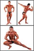 Bodybuilder flexing his muscles in studio set — Stock Photo