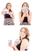 Pretty Young Woman Holding Playing Cards set — Stock Photo