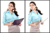 Full body portrait of hispanic business woman with blue folder — Foto Stock