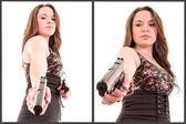 Hispanic Woman with a gun, white background set — Stock Photo