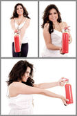 Woman holding fire extinguisher set — Stock Photo