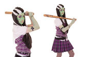 Model in Frankenstein costume with baseball bat — Stock Photo