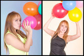Beautiful hispanic girl with balloons — Stock Photo