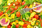 Fresh vegetable salad,close-up with fork — Stock Photo
