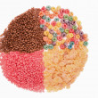 Food for a balanced diet in the form of circle. breakfast cereal — Stock Photo