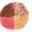 Food for a balanced diet in the form of circle. breakfast cereal — Stock fotografie