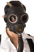 Girl in gas mask with tattoos — Stock Photo