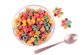 Delicious and nutritious fruit cereal loops — Stock Photo