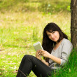 Happy young woman with digital tablet sitting on grass in park — Stock Photo #42374621