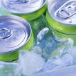 Green Soda can in crushed ice — Stock Photo #42466883