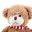 Clever teddy bear on a white background with glasses — Stock Photo