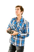 Man playing with a rc transmitter — Stock Photo