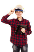 Man with a nail gun on a white background — Stock Photo