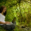 Woman in the forest using a laptop — Foto Stock