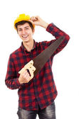 Man with a saw on a white background — Stock Photo