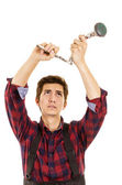 Man installing a shower head — Stock Photo