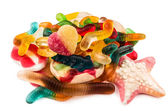 Jelly candy assorted flavors on white — Stock Photo