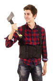 Man with hatchet on a white background — Stock Photo