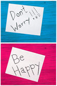 Post it notes, dont worry, be happy — Stock Photo
