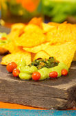 Nachos and avocado — Stock Photo