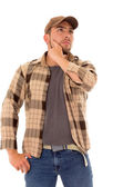 Trucker man flannel cap — Stock Photo