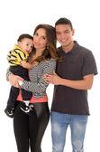 Family hispanic on a  white background — Stock Photo