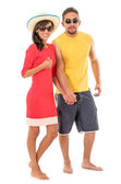 Couple on beach outfit — Stock Photo