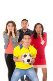 Group watching football match — Stock Photo