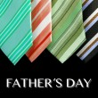 Colored ties with fathers day text — Stock Photo