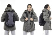 Three perspectives of same man with backpack — Foto de Stock