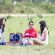 Group of friends having a picnic outdoors — Stock Photo #49973433