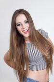 Beautiful young blond model posing — Stock Photo
