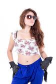 Half length portrait of beautiful young girl wearing sunglasses — Stock Photo