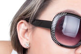 Closeup of sunglasses in girls face — Foto Stock
