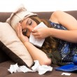 Beautiful young sick girl with a cold — Stock Photo #51006551