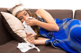 Beautiful young sick girl with a cold — Stock Photo