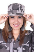Pretty young girl in military uniform — Stock Photo
