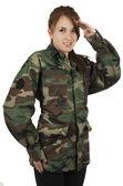Happy teenage young girl wearing green military jacket — Stock Photo