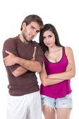 портрет привлекательных молодая пара позирует — Стоковое фото