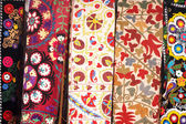 Traditional Turkish embroidered bedspreads — Stock Photo