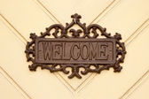 Welcome tablet on the door — Stock Photo