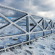 Stock Photo: Icy fence in snowy Carpathians