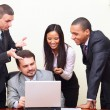Diverse business group working with computer — Stock Photo