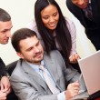 Stock Photo: Diverse business group working with computer